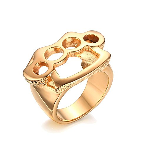 UM Jewelry Personalized Mens Stainless Steel Fist Boxing Glove Ring Gold