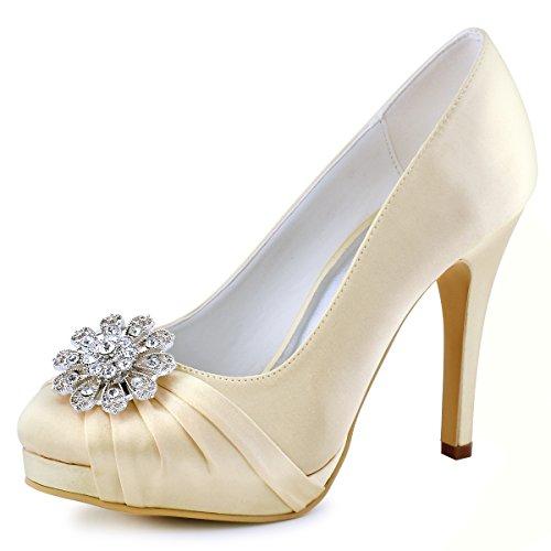- ElegantPark EP2015 Women Pumps Closed Toe Platform High Heel Buckle Satin Evening Prom Wedding Dress Shoes Champagne US 8