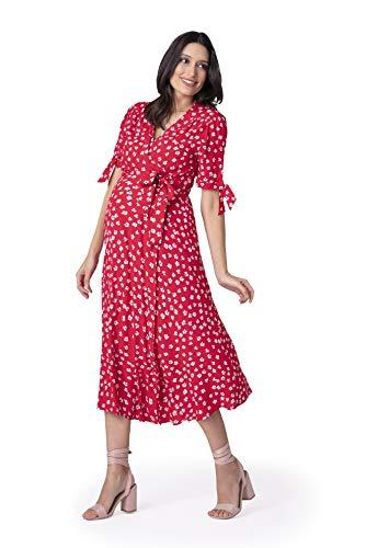 Seraphine Women's Red Midi Wrap Maternity Dress