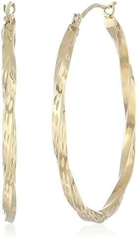 10k Yellow Gold Diamond Cut Large Twist Hoop Earrings
