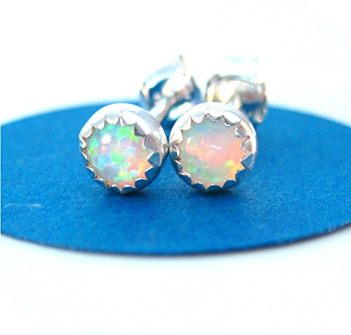 ngs, Small 4mm Lab Opal Post (Contemporary Bezel Set)