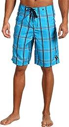Hurley Men\'s Puerto Rico Supersuede Boardshort, Cyan, 34