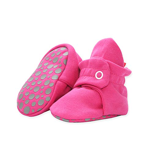 Pink Baby Bootie - Zutano Cotton Baby Booties with Grippers, Fuchsia, 6M