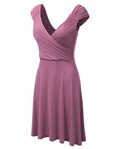 DRESSIS Womens Cap Sleeve V-Neck Ruched Flowy Wrap Dress Mauve - Sleeve Pleat Maternity Dress