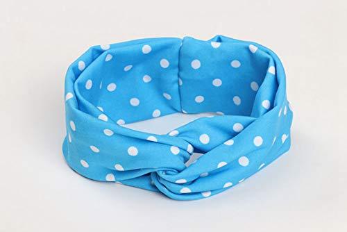 Women Headband Girls Turban Twist Knot Head Wrap Fashion Hair accessories Headband Dot Print Milk silk fabric Head Band,blue
