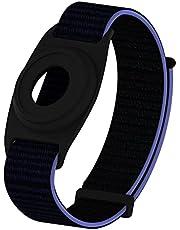 Geiomoo Siliconen Hoesje Nylon Bandje Compatibel met Air Tag, Tracker Hoes Polsbandje voor Kid (Marine Blauw)