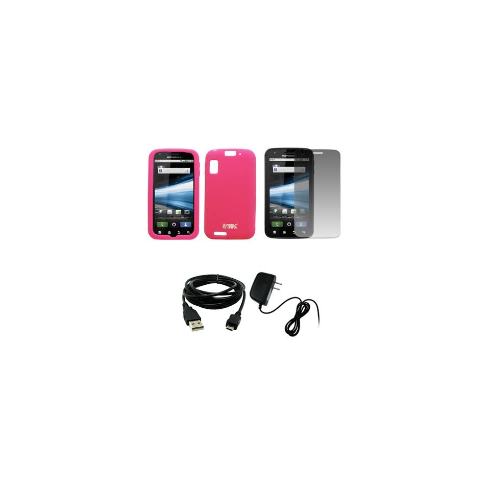 EMPIRE Hot Pink Silicone Skin Case Cover + Screen Protector + Home Wall Charger + USB Data Cable for AT&T Motorola Atrix 4G