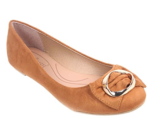 Faux Suede Buckle (Women Flat Closed Toe Bow Tie Gold-plated Buckle Faux Suede Taupe Color (8.5, Camel))