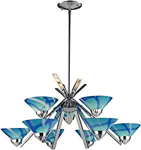 Elk 1476/6+3CAR Refraction 9-Light Chandelier with Caribbean Glass Shade, 31 by 16-Inch, Polished Chrome Finish