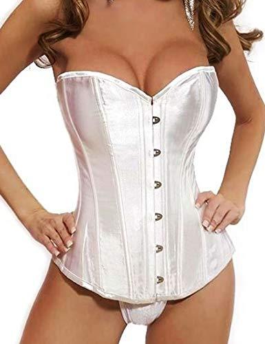 TingW Women's Bustier Corset Top Sexy Lingerie Sets Black Satin Waist Cincher White XXL