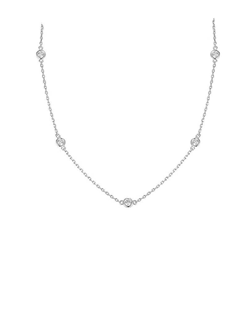 Sterling Silver Cubic Zirconia by the Yard Chain Necklace 24'' 36'' 54'' Inches - 54'' by iJewelry2