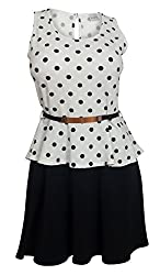 eVogues Plus Size Sleeveless Polka Dot Peplum Dress White - 1X