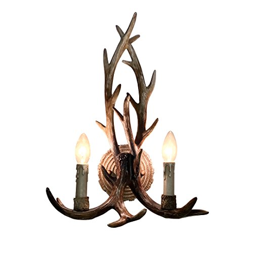 "EFFORTINC Resin Antler Wall Sconce 2 Light 14.5"" Diameter X 18.9"" Tall with (Bulbs Not Included)"
