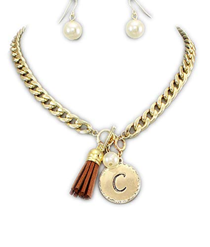 Women's Gold Front Toggle Initial Necklace and Earring Set with Brown Suede Tassle-C