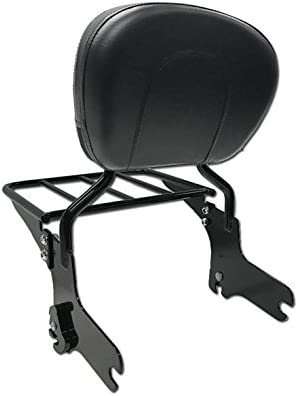 Detachables Backrest Sissy Bar with Luggage Rack for Harley Davidson Touring Models 1997-2008 Gloss Black