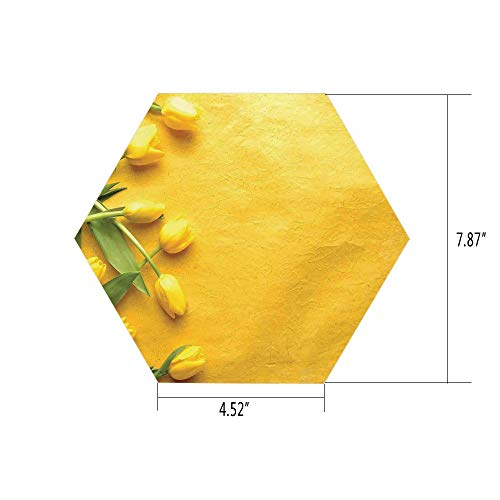 iPrint Hexagon Wall Sticker,Mural Decal,Yellow,Danish Dutch Tulips on The Colored Wall Gardening Floral Love Lily Herbs Decor Artprint,Yellow Green,for Home Decor 4.52x7.87 10 Pcs/Set ()