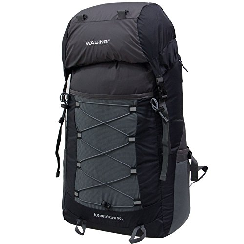WASING 50L Ultra Lightweight Water Resistant Packable Backpack Travel Hiking Daypack WS-HK-Black
