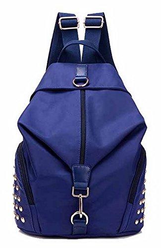 AllhqFashion Mujeres Mochilas Daypack Moda Casual Nylon Mochilas de Senderismo,FBUBBD180733 Azul