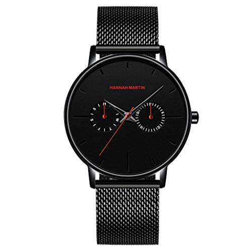 - Stylish quartz stone watch!Charberry Fashion Simple Two Eye Four Needle Men's Mesh Belt Quartz Watch (Red)