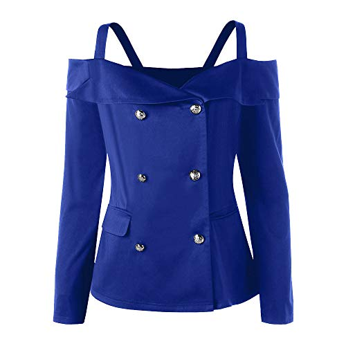 NRUTUP Plus Size Womens Sexy Slash Neck Strap Coat Sweatshirt Coat with Double Breasted Top Blouse(XXL,Blue) ()