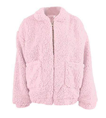 Mujer Espesor Polares Otoño Larga Chaqueta Outerwear Stand Pink Manga Casuales Ropa Invierno Anchas Plush Chaquetas Cuello Termica Abrigos dxWpfnd