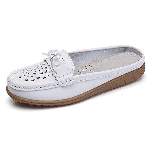 43 Élégant Jrenok Sandales Bateau Blanc Creux Un Bowknot Avec Gentil Suédé Femme Pour 35 Loisir Mocassins Cuir Chaussures En wwvarq