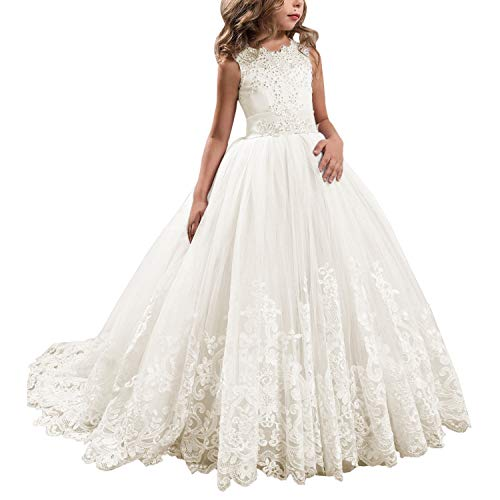 WDE Princess Ivory Long Girls Pageant Dresses Kids Prom Puffy Tulle Ball Gown US 8