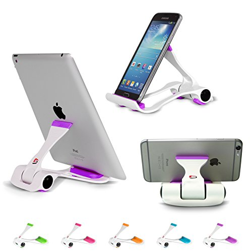 SIME-ON: Phone and Tablet Stand, Desk Holder Compatible with iPhone, iPad (Mini), Samsung Devices, Universal, Portable, Adjustable Multi-Angle - Purple