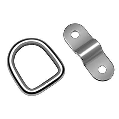Hysagtek 4X Stainless D Ring Tie Downs Trailer Anchors Points with Mounting Bracket, for Cargo Trailer Control: Home Improvement