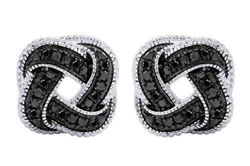 Aria Jewels Black Diamond Accent Love Knot Stud Earrings in 14K White Gold Over Sterling Silver For Women (1/10cttw)