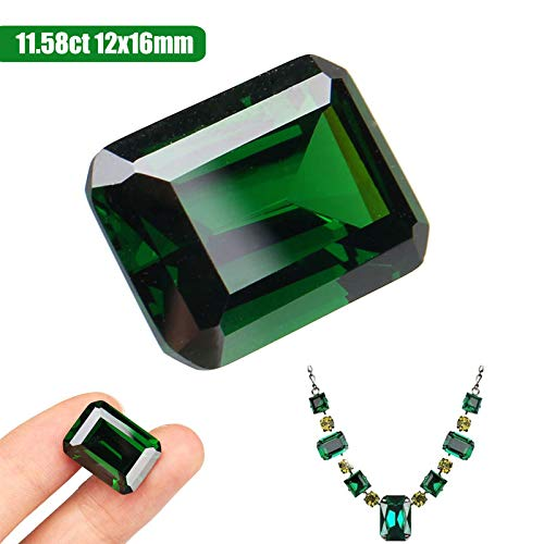 Dazzling Artificial Green Sapphire 12x16mm Diamond Emerald Loose Gemstone DIY Jewelry Pendant Home Crafts