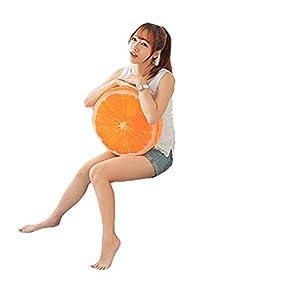 Dosige 3D Cartoon Frutta Cuscino per Sedia Sedile Posteriore Divano, Cuscino Home Office Auto Peluche Gioca casa Decorazione (Arancione) 1 spesavip