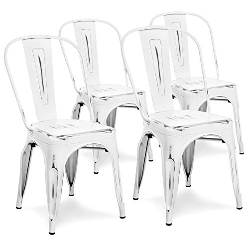 (Best Choice Products Set of 4 Distressed Industrial Metal Dining Side Chairs (White))