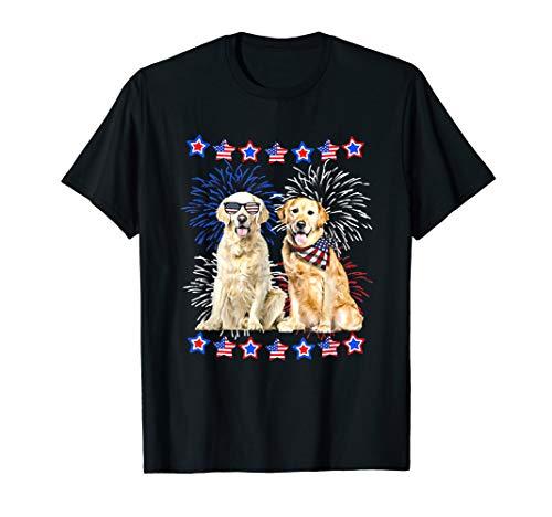 Golden Retriever American flag USA Dog Patriotic Gift Shirt T-Shirt