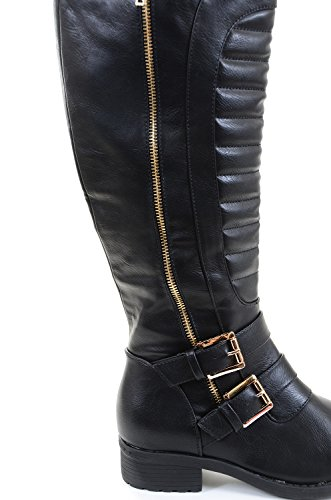 Vegan Strap Leatherette Quilted Knee Leatherette Riding Quilted Boot Riding Strap Knee Boot Quilted Vegan qwxznFIRa4