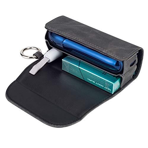 DrafTor E Zigarette Tasche, PU Leder Zigarettenetui für I-Q-O-S 3.0 mit mit Clip oder Schnalle (nur Geldbörse)(Grau)