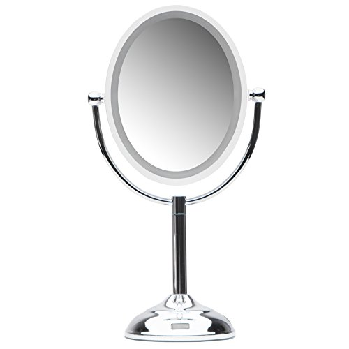 Mirrorvana Motion Sensor LED Lighted Makeup Mirror ~ Double Sided 5x/1x Magnifying -