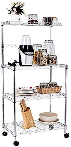 BAIJIAWEI 4 Tiers Kitchen Bakers Rack with Wheels Microwave Stand Shelf Storage Rolling Cart with Thicken PP Board for Kitchen, Bathroom, Livingroom Medium, PP Board