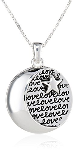 Sterling SilverI Love You To The Moon and Back Circle with Star Pendant Necklace, 18