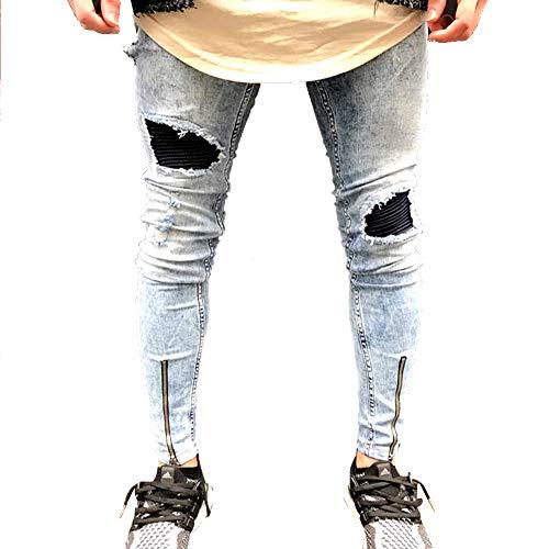 Suncaya Hombres Pantalones Ajustados Ripeado Motocicleta Denim Vintage Pantalones Hip Hop 1828