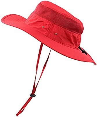 Men Summer Sun Hat UV Protection Wide Brim Mesh Bucket Hats for Outdoor Fishing Beach