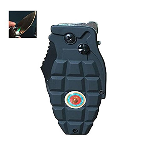 Windproof Lighter Inflatable Grenade Model Reuse Gas Point Cigar Tactical Knife Lighter (Brass Designer Series)