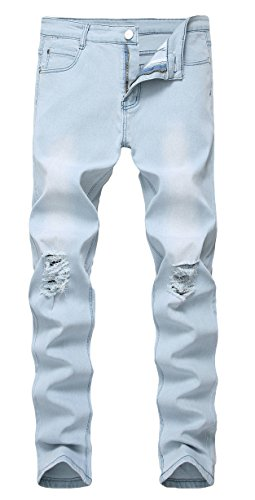 (Qazel Vorrlon Men's Slim Fit Light Blue Stretch Destroyed Ripped Skinny Denim Jeans)