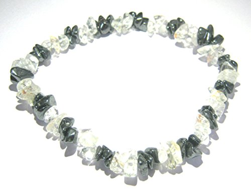 CRYSTALMIRACLE Excellent Clear Quartz Hematite Gemstone Stretch Bracelet Crystal Healing Men Women Gift Wicca Fashion Jewelry Peace Meditation Health Wealth Spiritual Protective Prosperity Mind by CRYSTALMIRACLE