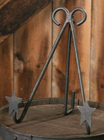 wrought iron folk star frame holder plate stand display rack