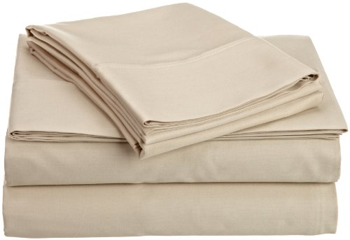HN International Group Castle Hill 310 Thread Count 100-Percent Egyptian Cotton Solid Taupe King Size Sheet - Thread Cotton Egyptian 310