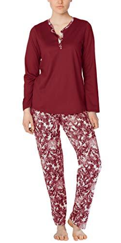 Calida Pajama - Calida Cotton PJs - Long Sleeve 100% Cotton Knit Pajamas - Mystic Ruby (Ruby Wine, XS (4-6))