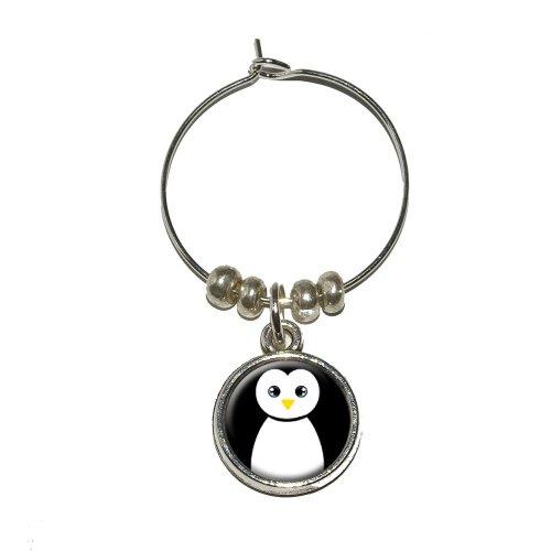 (Penguin - Black and White Wine Glass Charm Drink Stem Marker Ring)