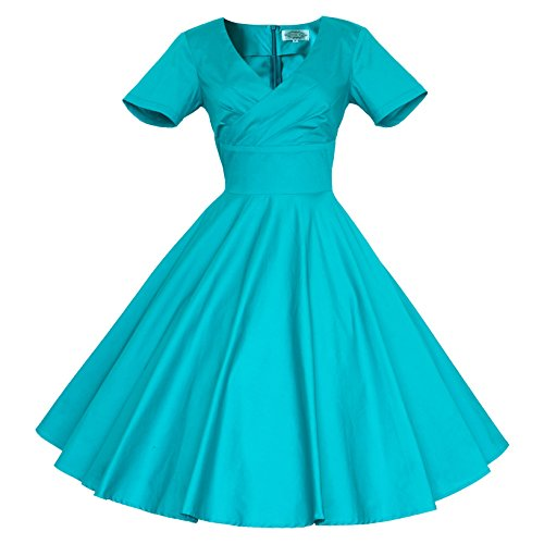 Cocktail Vintage Women's Rockabilly Teal Party 1950S Swing Dress Tang 60S Maggie XwRqUxI6I
