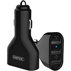 [Qualcomm Certified] UNITEK Quick Charge 2.0 42W 3-Port USB QC 2.0 Car Charger Adapter + Micro USB Cable
